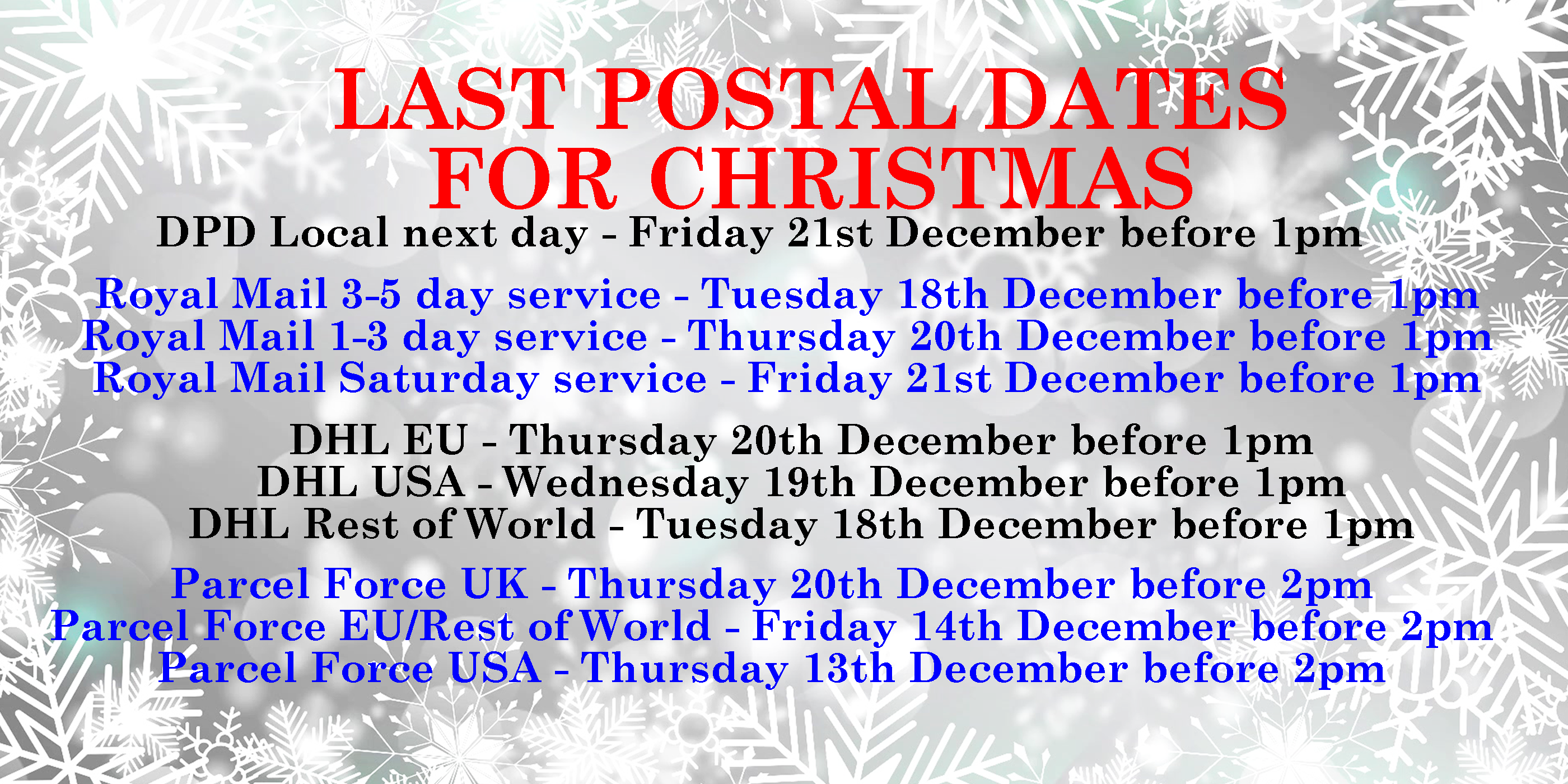 Postal Dates