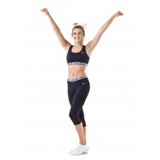 Nfinity Silver/Black Waistband Cropped Leggings Adult