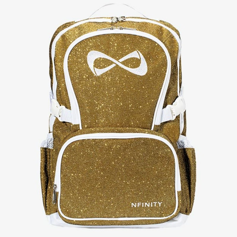 Nfinity Gold Sparkle White Logo Backpack
