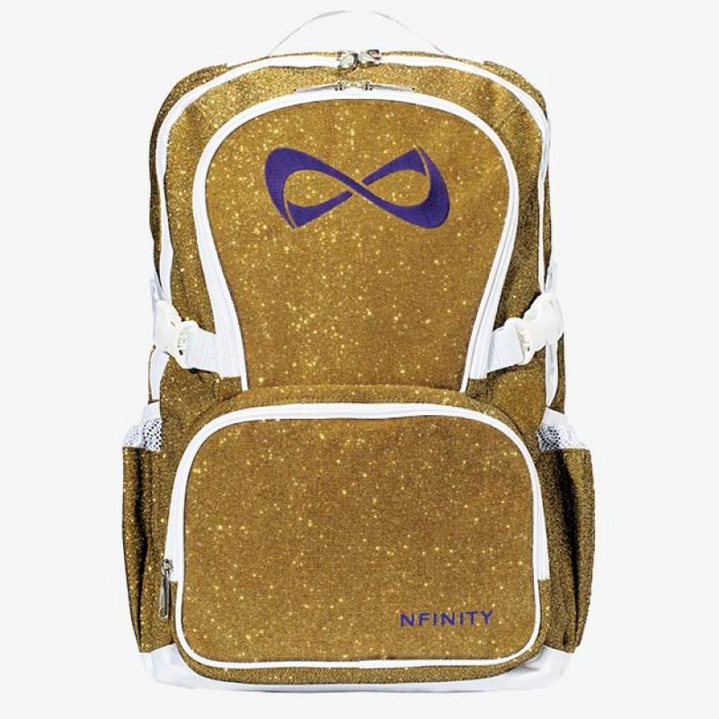 Nfinity Gold Sparkle Purple Logo Backpack